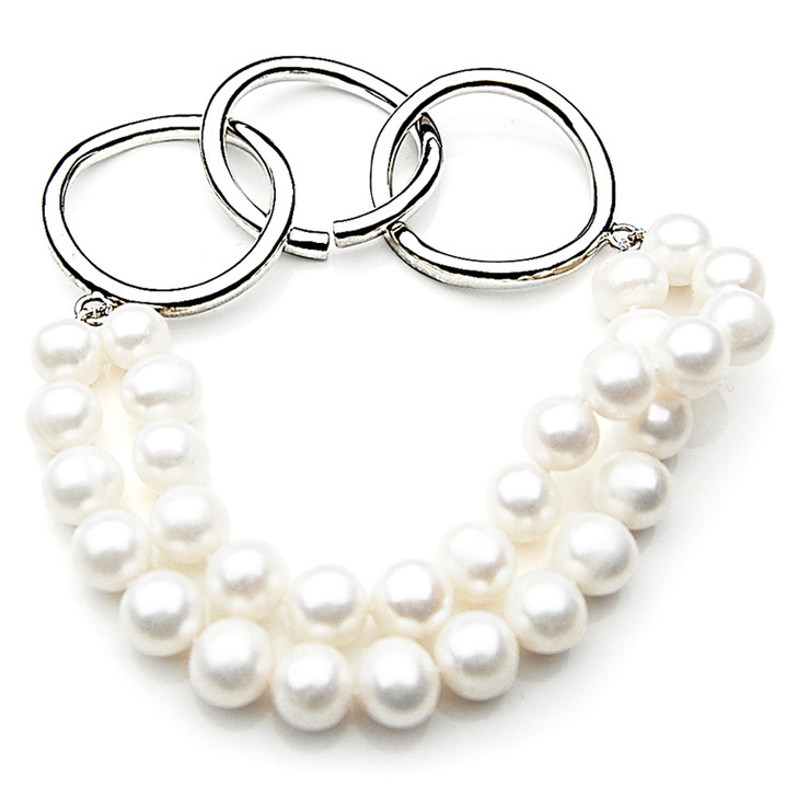 FB015 (AAA 8mm Freshwater Pearl Bracelet Silver clasp )