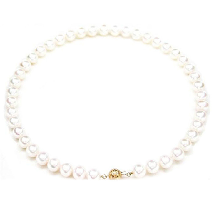 FN002 (AAA 9-10mm Freshwater Pearl Necklace 14k Gold Clasp )