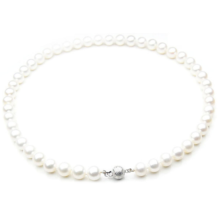FN003 (AAA 9-10 mm Freshwater Pearl Necklace  14k White Gold Clasp )