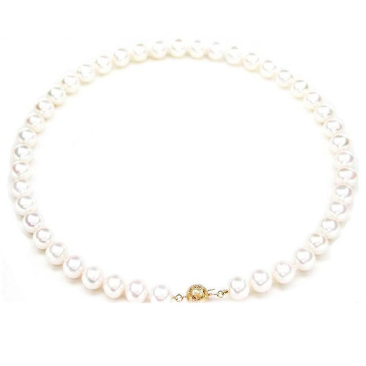 FN004 (AAA 9-10 mm Freshwater Pearl Necklace  14k Yellow Gold Clasp )