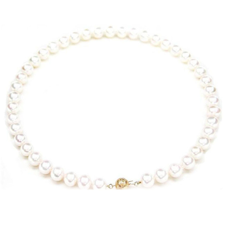 FN006 (AAA 9-10 mm Freshwater Pearl Necklace 14k Yellow Gold Clasp )