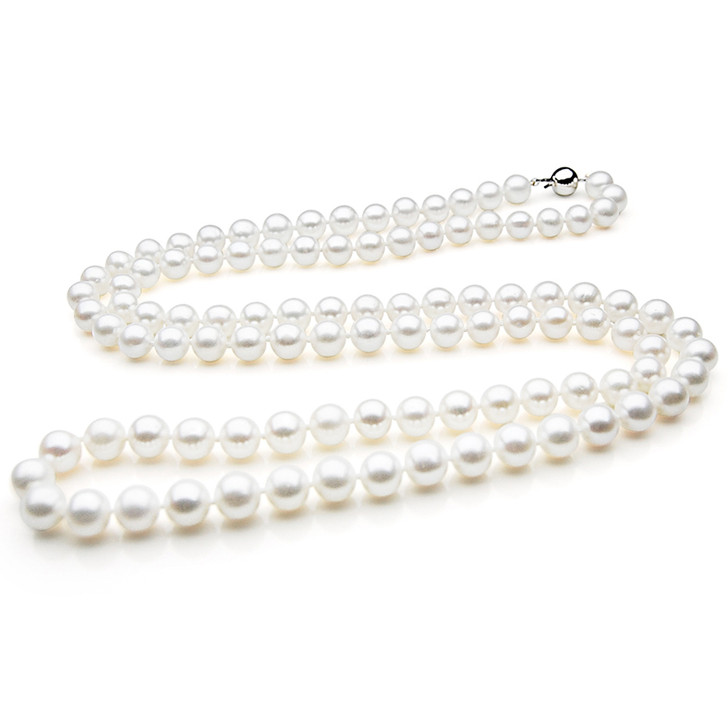 FN007 (AAA 9-10 mm Freshwater Pearl Necklace 14k White Gold Clasp )