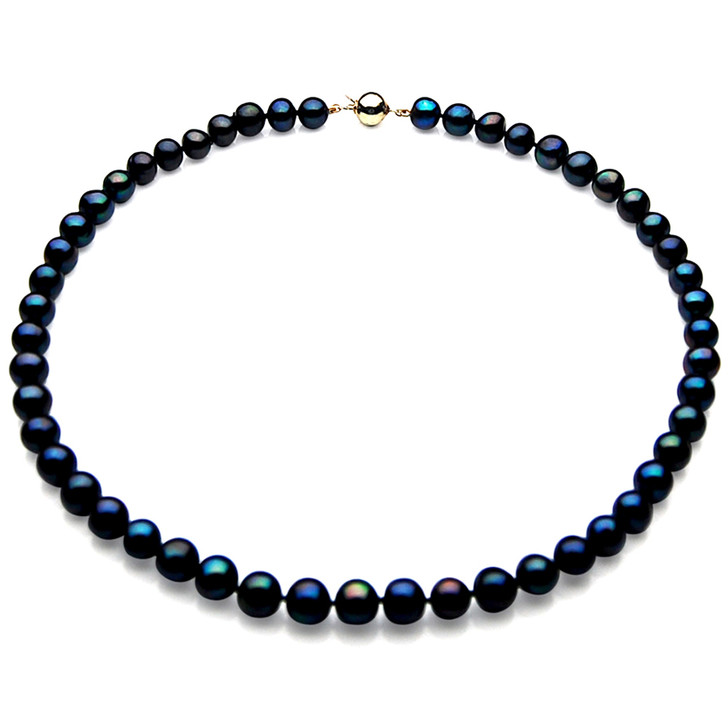 FN011 (AAA 8mm Freshwater Pearl Necklace  14k Yellow gold clasp)