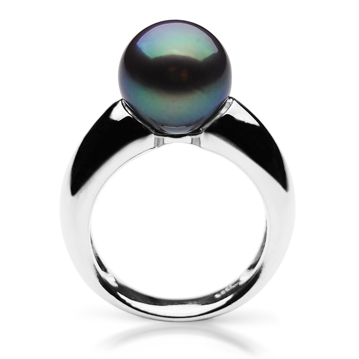 FR010 (AAA 10-11mm Black Freshwater Cultured Pearl Ring set in Silver)
