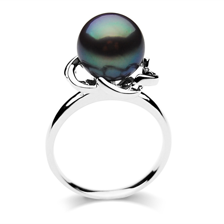 FR011 (AAA 9-10mm Black Freshwater Cultured Pearl Ring set in Silver)