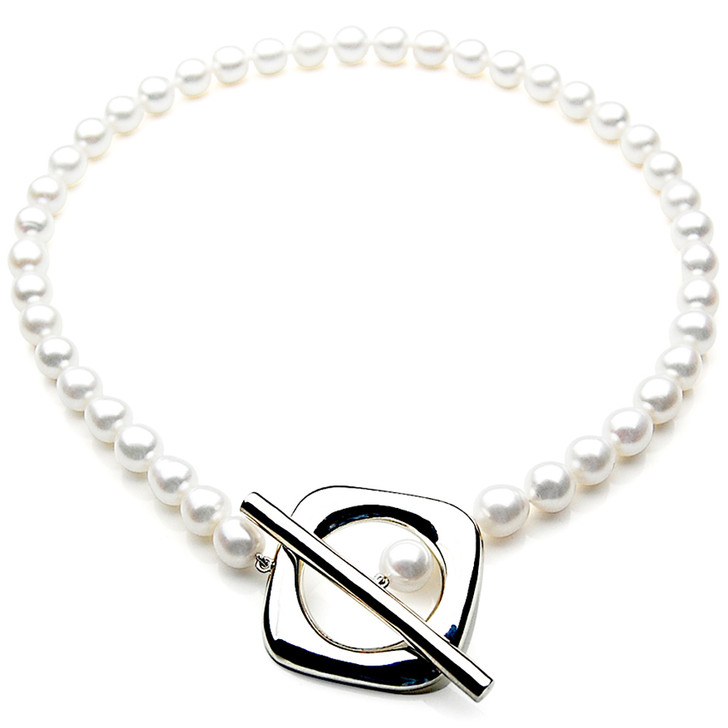 FN021 (AAA 11mm Drop  Freshwater Pearl Necklace 14k Silver Clasp )