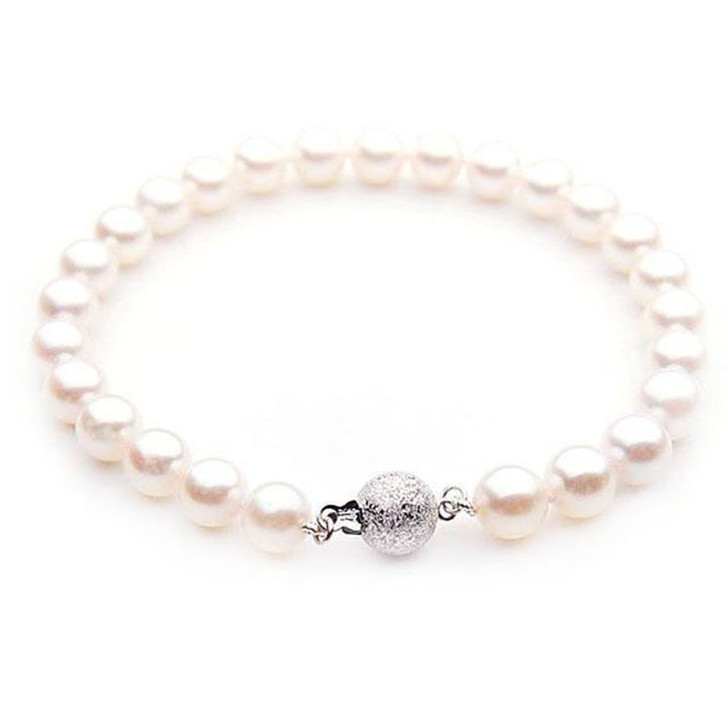 AB005 (AAA 7-7.5mm Japanese Akoya Saltwater Pearl Bracelet gold clasp )