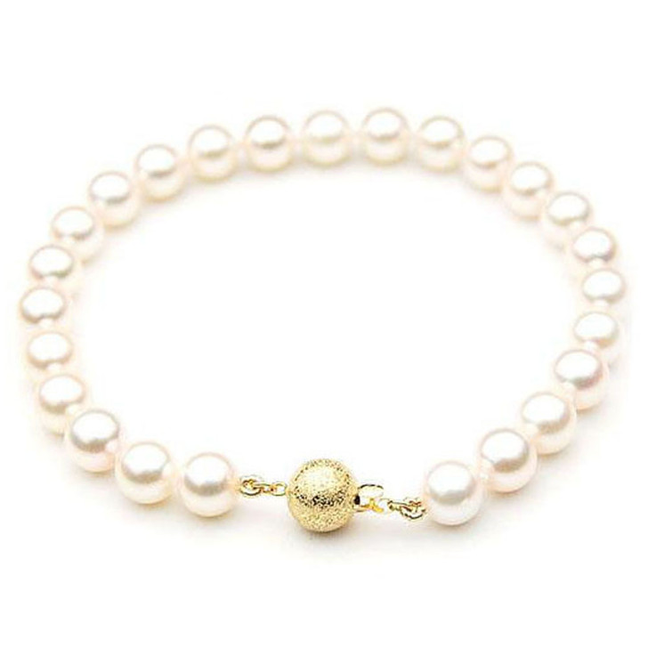 AB006 (AAA 7-7.5mm Japanese Akoya Saltwater Pearl Bracelet gold clasp )
