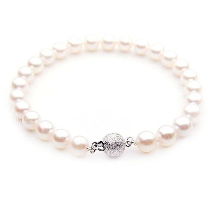 AB007 (AAA 7.5-8 mm Japanese Akoya Saltwater Pearl Bracelet gold clasp )