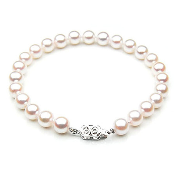 AB009 (AAA 7-7.5mm Japanese Akoya Saltwater Pearl Bracelet  gold clasp )