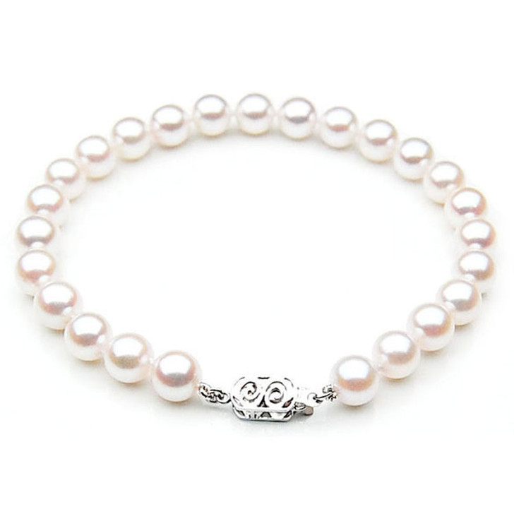 AB010 (AAA 7-7.5mm Japanese Akoya Saltwater Pearl Bracelet  gold clasp )