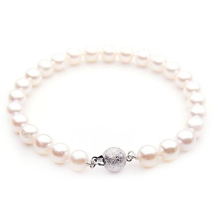 AB022 -1 (AAA 8-8.5 mm Japanese Akoya Saltwater Pearl Bracelet  white gold clasp )