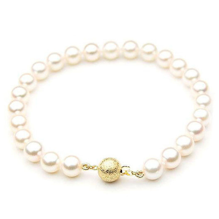 AB023-1 (AAA 8-8.5mm Japanese Akoya Saltwater Pearl Bracelet Yellow gold clasp )
