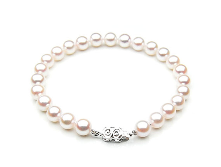 AB026 (AAA 7.5-8mm Japanese Akoya Saltwater Pearl Bracelet gold clasp )