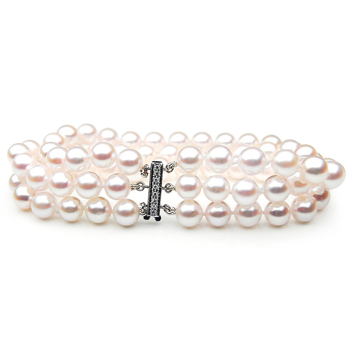 AB033-1 (AAA 8.5-9 mm Japanese Akoya Saltwater Pearl Bracelet  white gold diamond clasp )