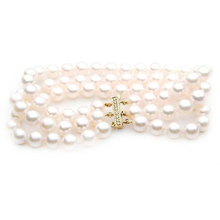 AB034-1 (AAA 8.5-9 mm Japanese Akoya Saltwater Pearl Bracelet yellow gold diamond clasp )