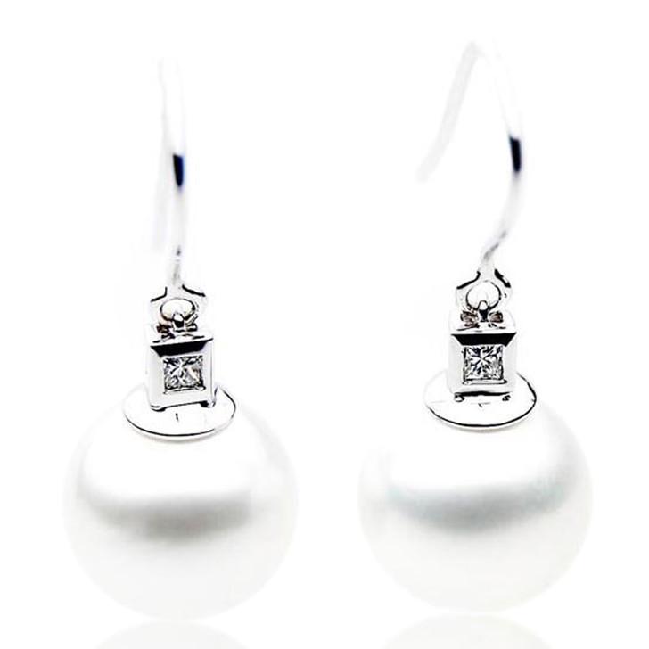 SE087   (AAA 13mm Australian South Sea Pearl Earrings Diamonds 18k White Gold)