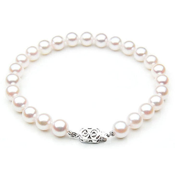 AB035 (AA 8-8.5mm Japanese Akoya Saltwater Pearl Bracelet gold clasp )
