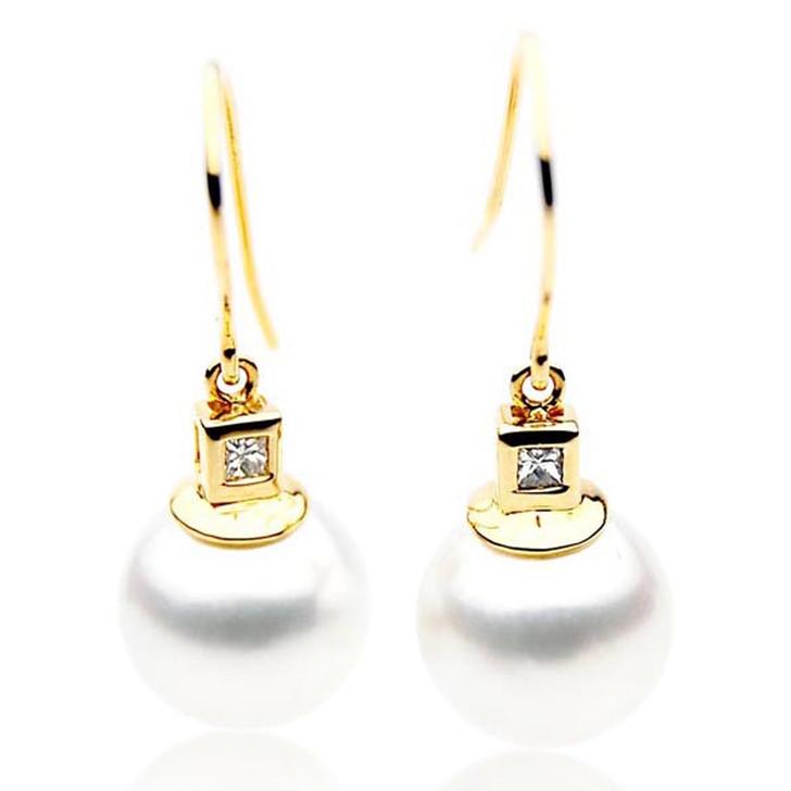 SE088   (AAA 13mm Australian South Sea Pearl Earrings Diamonds in 18k Gold)