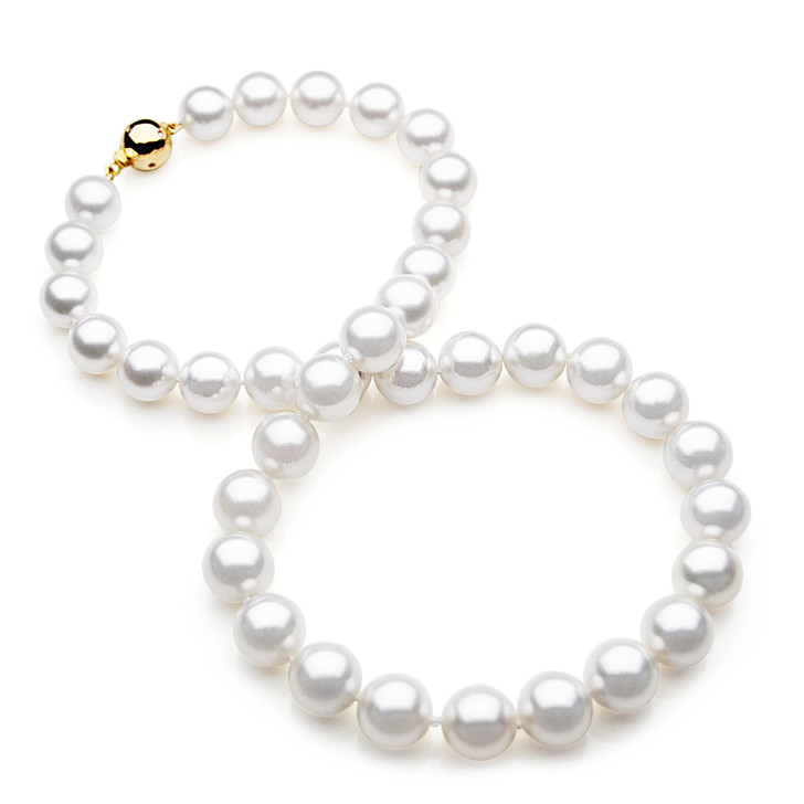 SN004 (AAA 10-11 mm Australian South Sea Pearl Necklace Gold Diamond  clasp