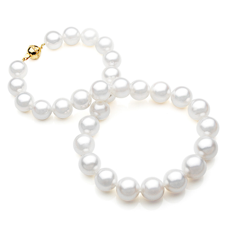 SN008 (AAA 13-15 mm Australian South Sea Pearl Necklace gold Diamond Clasp