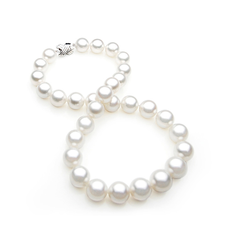 SN011 (AAA 13-15 mm Australian South Sea Pearl Necklace White Gold clasp