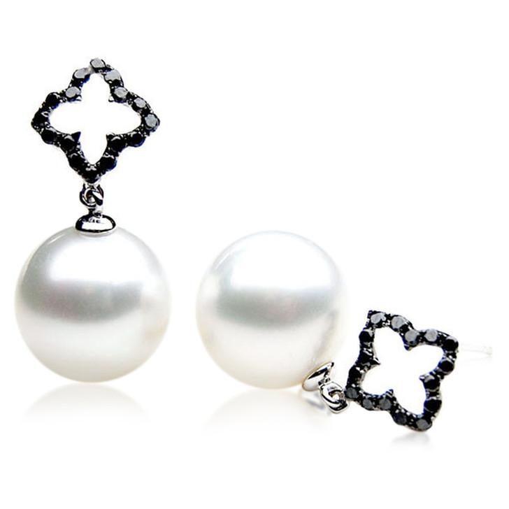 SE091  (AAA 13mm Australian South Sea Pearl Earrings Diamonds in 18k White Gold)