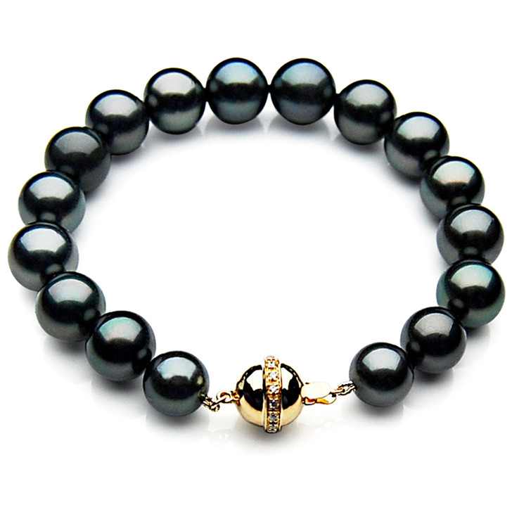 TB002 (AAA 9-11 mm Tahitian Black Pearl Bracelet  gold Diamond clasp 18cm  )