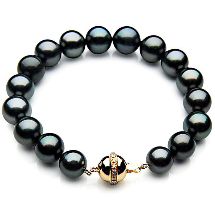 TB004 (AAA 9-11 mm Tahitian Black Pearl Bracelet Diamond clasp 21cm )
