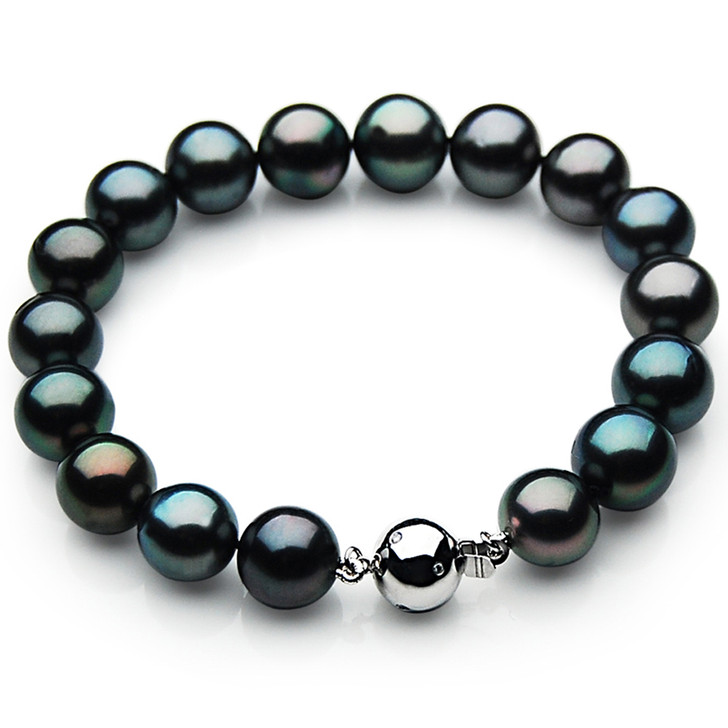 TB005 (AAA 9-11 mm Tahitian Black Pearl Bracelet W gold Diamond clasp 18cm )