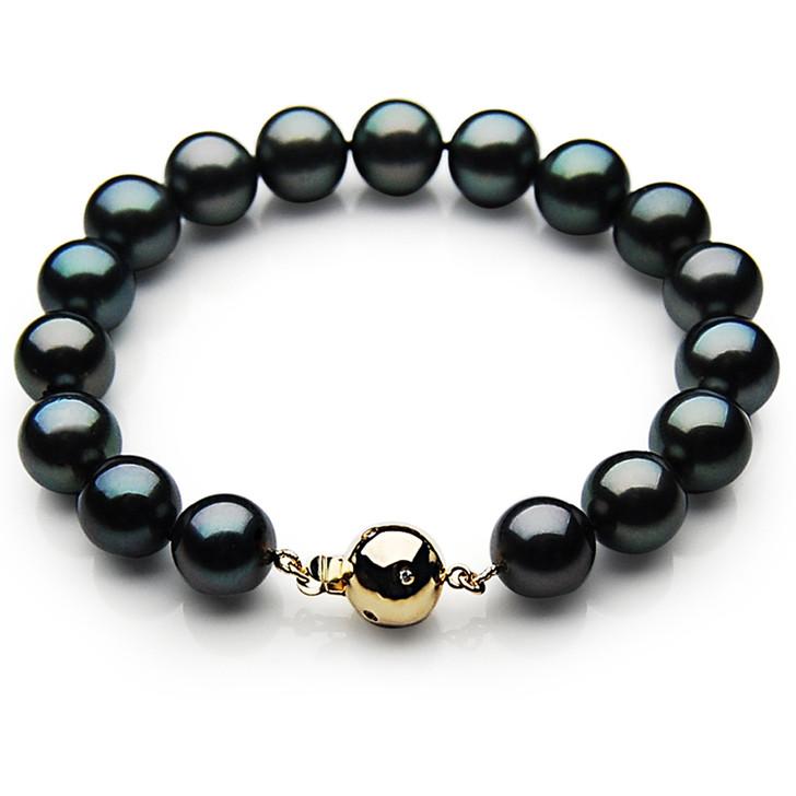 TB006 (AAA 9-11 mm Tahitian Black Pearl Bracelet Diamond clasp 18cm)
