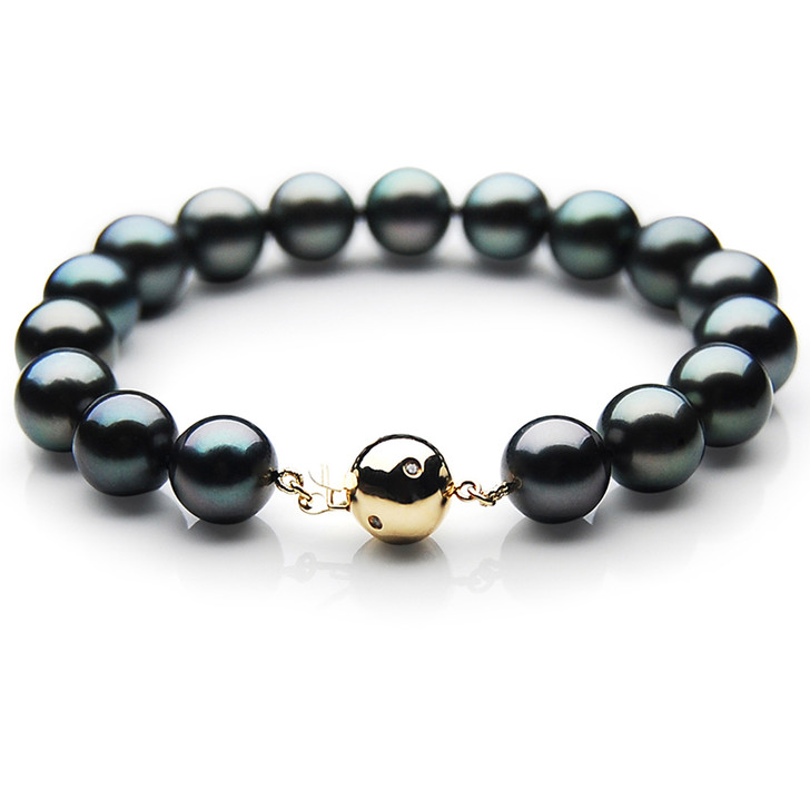 TB008 (AAA 9-11 mm Tahitian Black Pearl Bracelet gold Diamond clasp 21cm )