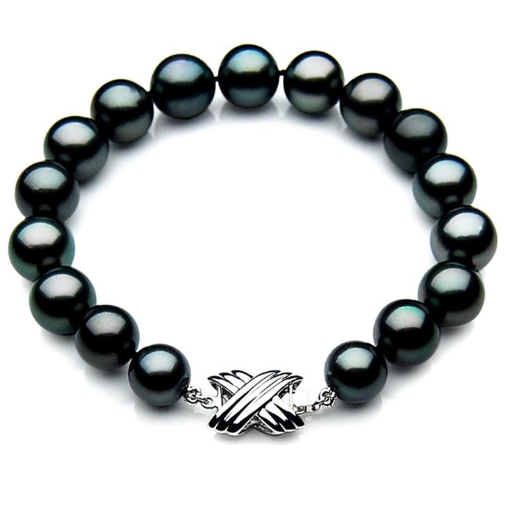 TB009 (AAA 9-11 mm Tahitian Black Pearl Bracelet 18k White gold clasp 18cm )