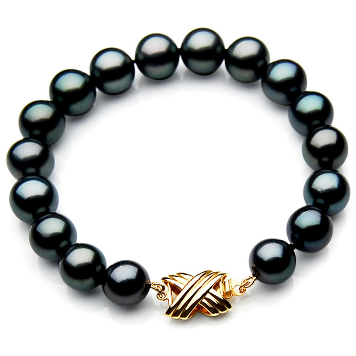 TB010 (AAA 9-11 mm Tahitian Black Pearl Bracelet 18k Yellow gold clasp 18cm )