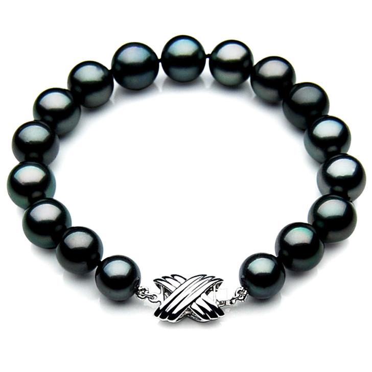 TB011 (AAA 9-11 mm Tahitian Black Pearl Bracelet 18k White gold clasp 21cm )