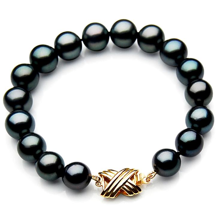 TB012 (AAA 9-11 mm Tahitian Black Pearl Bracelet 18k Yellow gold clasp 21cm )