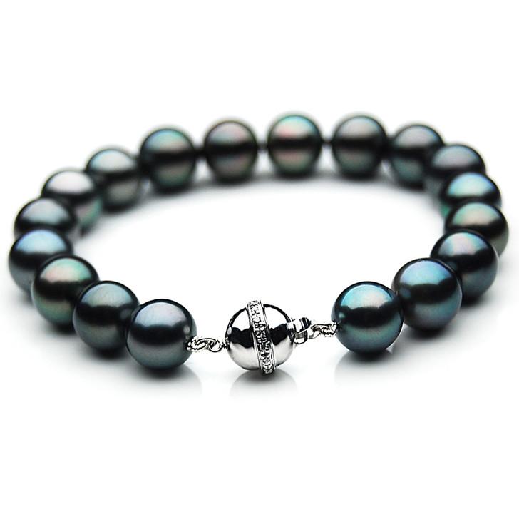TB013 (AAA 10-12 mm Tahitian Black Pearl Bracelet  W gold Diamond clasp 18cm )