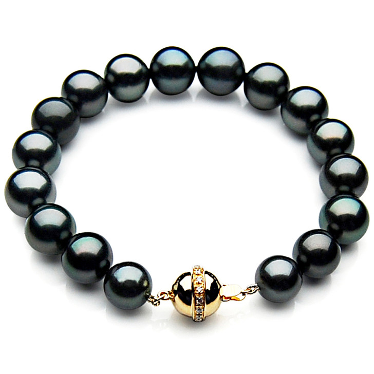 TB014 (AAA 10-12 mm Tahitian Black Pearl Bracelet  Diamond clasp 18cm )