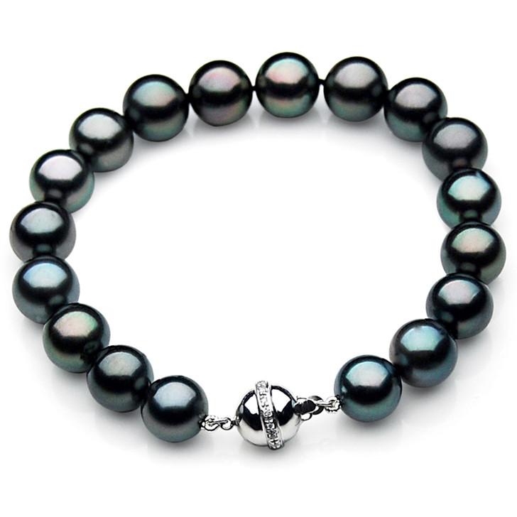 TB015 (AAA 10-12 mm Tahitian Black Pearl Bracelet W gold Diamond clasp 21cm )