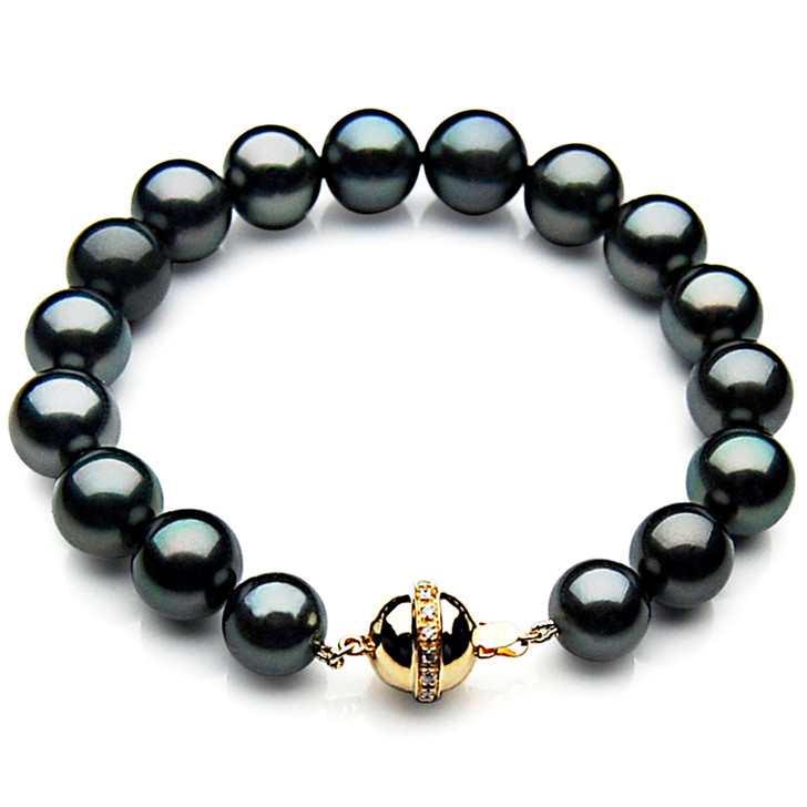 TB016 (AAA 10-12 mm Tahitian Black Pearl Bracelet gold Diamond clasp 21cm )