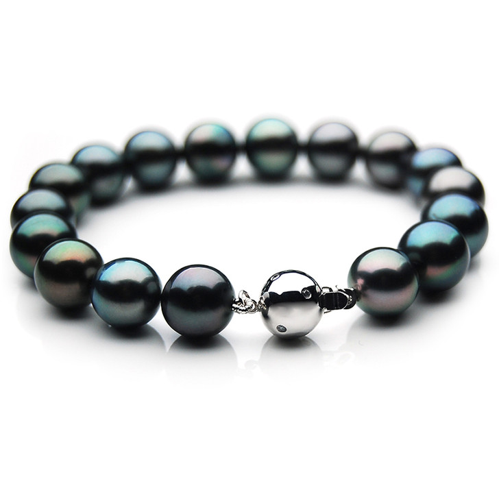 TB017 (AAA 10-12 mm Tahitian Black Pearl Bracelet Diamond clasp 18cm )
