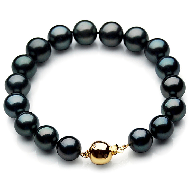 TB018 (AAA 10-12 mm Tahitian Black Pearl Bracelet gold Diamond clasp 18cm )