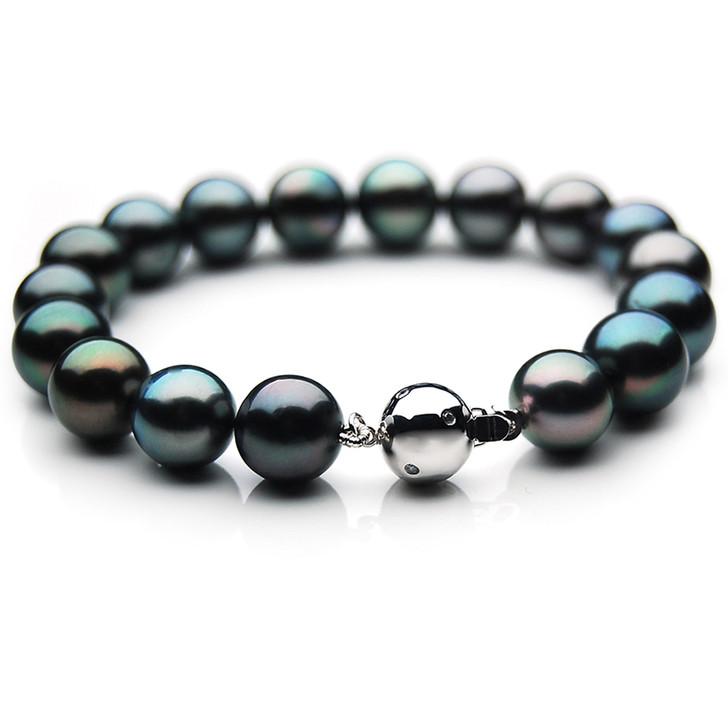 TB019 (AAA 10-12 mm Tahitian Black Pearl Bracelet Diamond clasp 21cm )