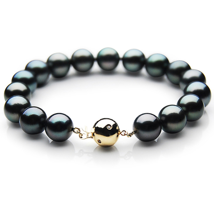 TB020 (AAA 10-12 mm Tahitian Black Pearl Bracelet gold Diamond clasp 21cm )