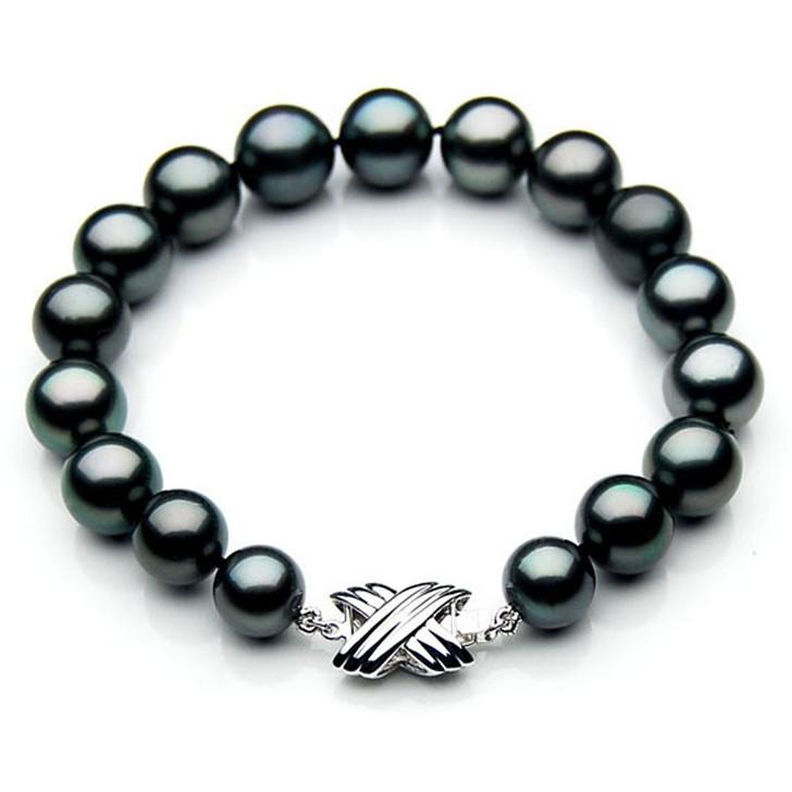 TB021 (AAA 10-12 mm Tahitian Black Pearl Bracelet 18k White gold clasp 18cm)