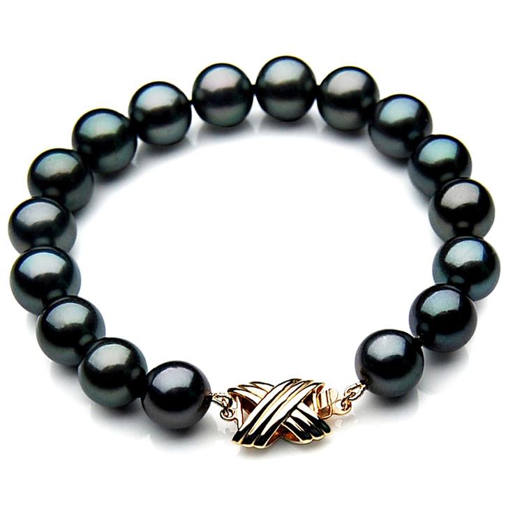 TB024 (AAA 10-12 mm Tahitian Black Pearl Bracelet 18k Yellow gold clasp 21cm )