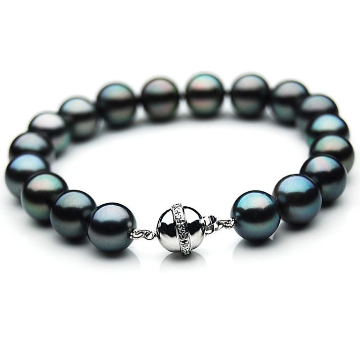 TB025 (AAA 11-13 mm Tahitian Black Pearl Bracelet Diamond clasp 18cm )
