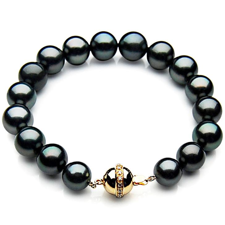 TB026 (AAA 11-13 mm Tahitian Black Pearl Bracelet Diamond clasp 18cm )