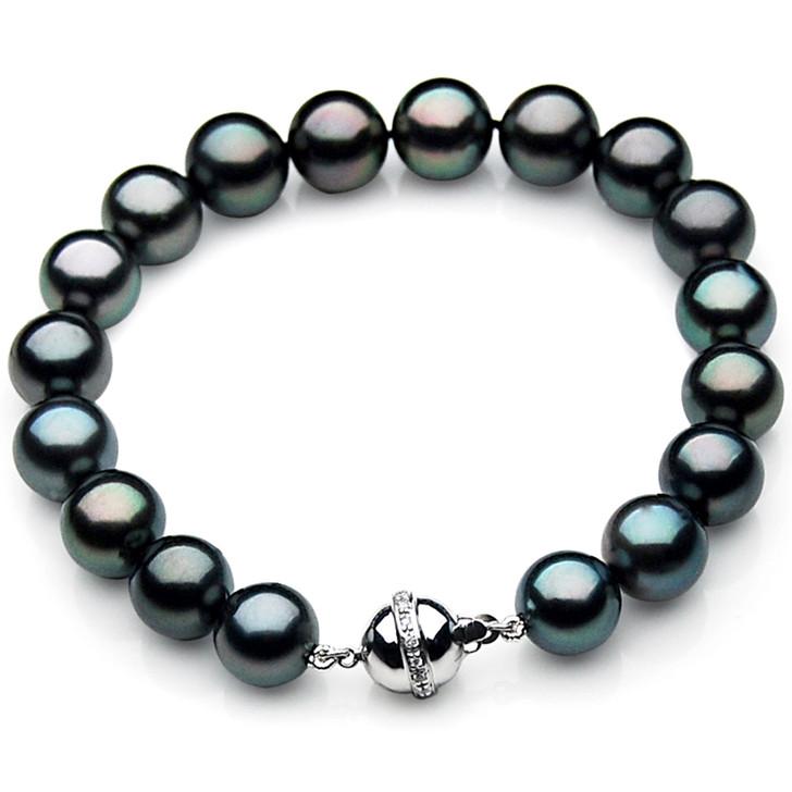 TB027 (AAA 11-13 mm Tahitian Black Pearl Bracelet W gold Diamond clasp 21cm )