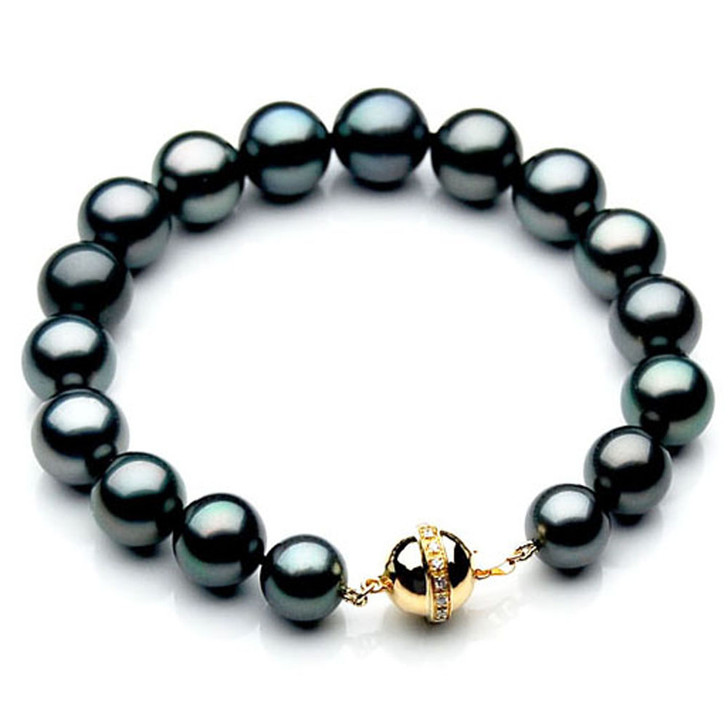TB028 (AAA 11-13 mm Tahitian Black Pearl Bracelet gold Diamond clasp 21cm )